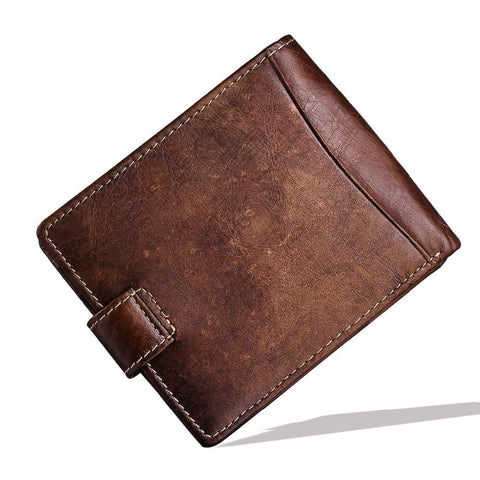 Retro Real Genuine Leather Bifold Wallet - East Gold