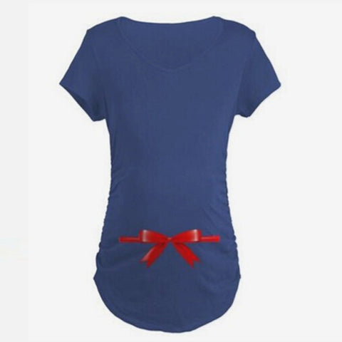 Bow Printed Maternity T-Shirt - East Gold
