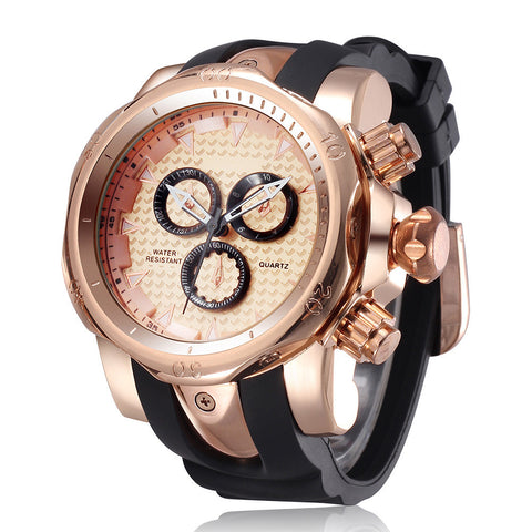 Big Dial Quartz Watches Rubber Band Analog Man Wristwatch Army Style Luxury Male Clock Saat - East Gold