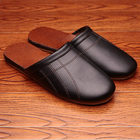Genuine Leather Anti-Slip Comfortable and Warm Home Shoes - East Gold