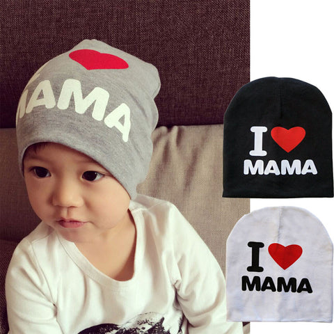 Knitted Warm Cotton Beanie I LOVE PAPA MAMA Print - East Gold