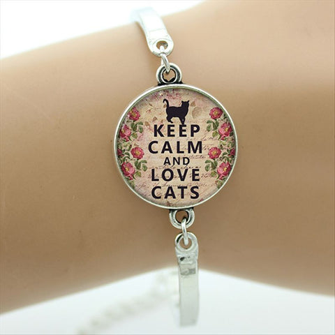 Keep Calm and Love Cats Bracelet lovely quote charm Cat lover jewelry glass Cabochon Art picture bangle gifts D09 - East Gold