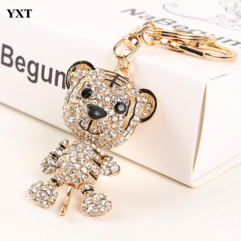 Tiger King Lovely Foot Hand Move Rhinestone Crystal  Keyring - East Gold