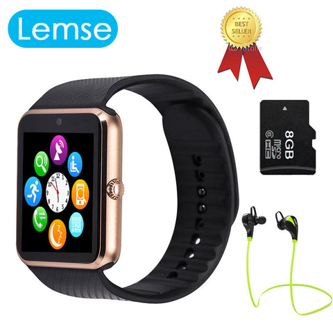 Lemse GT08 Bluetooth Smart Watch wearable devices Support SIM TF Card MP3 Smartwatch For apple Android OS phone - East Gold