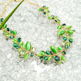 Gold Green Leaves Cat eye stone Crystal From Swarovski - East Gold
