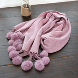 Winter Cashmere Scarf Women Classical Solid Color Thick Blanket Wrap Ball Tassels - East Gold