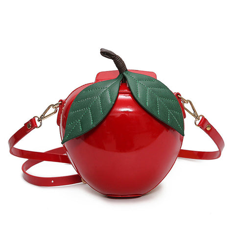Designer Red Circular Apple Bag - East Gold