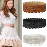 Womens Vintage PU Leather Hollow Flowers Lace Bowknot Wide Waist Waistband   East Gold
