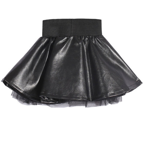 Black Lined PU Leather Pleated Elastic Waist Mini Skirts - East Gold