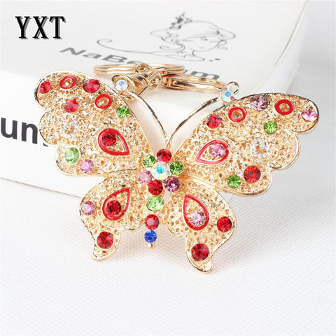 Butterfly Lovely Multi-color Crystal Rhinestone  Key Ring - East Gold