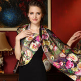 100% Mulberry Long Scarf Silk Luxury Brand Scarf - East Gold