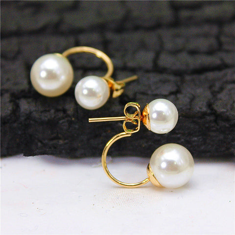 Elegant Double Imitations Pearl stud Earrings   East Gold