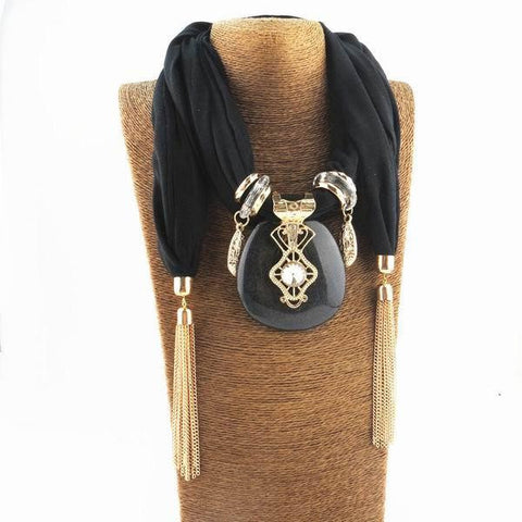 Square Pendant Scarf Necklace Wrap Jewelry Luxury - East Gold