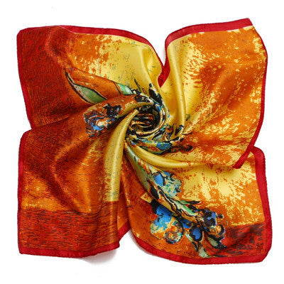 Foulard Satin Cachecol 100% Silk Scarves Summer Scarf - East Gold