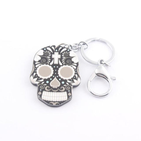 Skull Alloy Acrylic Colorful Keychain - East Gold