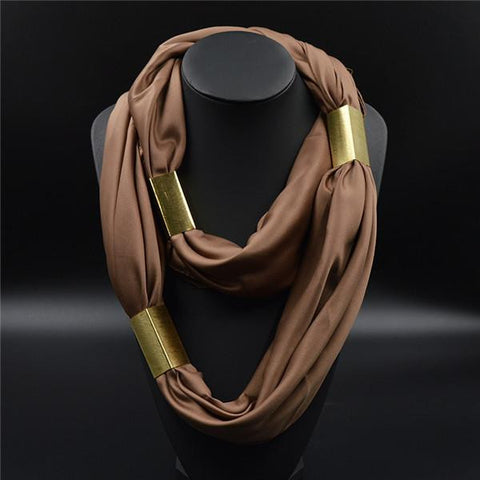 Silk Necklace Long Scarf Necklace Solid Colors Gold-plated Decorative - East Gold