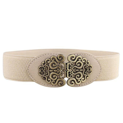 Flower Vintage Leather Belt   East Gold