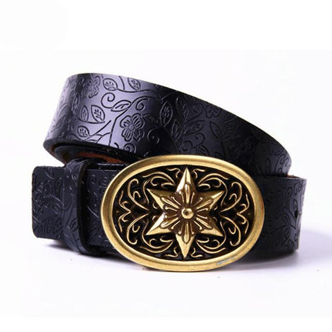 Retro smooth leather embossed belt   East Gold