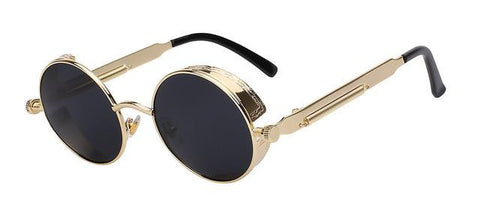 POLARIZED Round Metal Frame Sun Glasses - East Gold