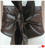 Elegant PU Leather Wrap Around Tie Wide Waistband Corset Cinch Belt   East Gold