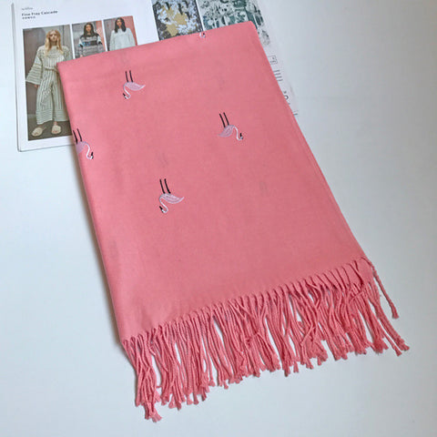 Cashmere Flamingos Shawl Pure Color Tassels Warm Winter Soft Scarves - East Gold
