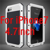 Luxury doom armor Dirt Shock Waterproof Metal Aluminum cell phone case For iphone 7 SE 4S 5 5C 5S 6 6S Plus case +Tempered glass - East Gold
