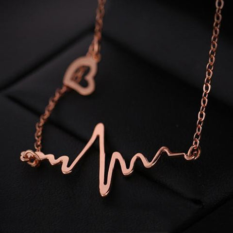 Wave Heart Chic ECG Heartbeat Rose Gold/Silver Necklaces - East Gold