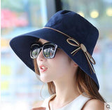 Foldable  bucket  Butterfly knot wide brim Floppy  Summer hat - East Gold