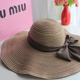 Summer Cotton Beach Large brim hat With Ribbons - East Gold