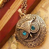 Retro Vintage Ancient Bronze Big Eyes Owl Necklace   East Gold