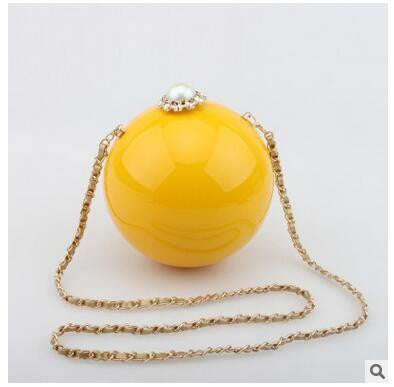 Round Pearl Luxury Diamond Clutch Bag - East Gold
