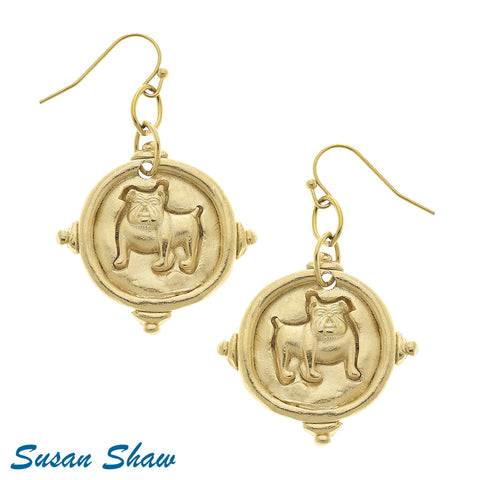 Handcast Gold Bulldog Earrings