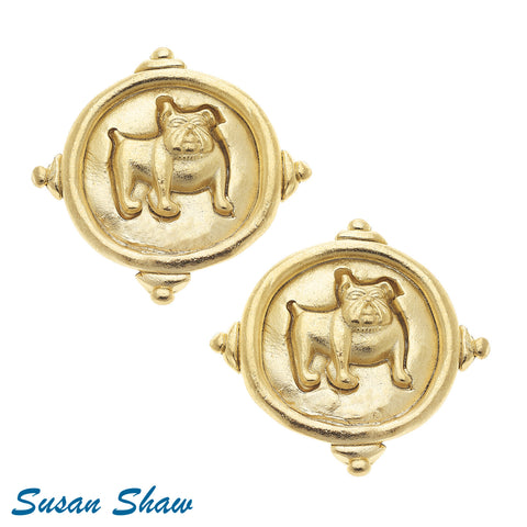 Gold Bulldog Earring