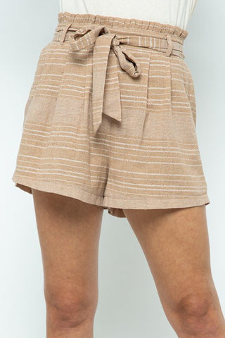 Milk Tea Striped Belted Shorts