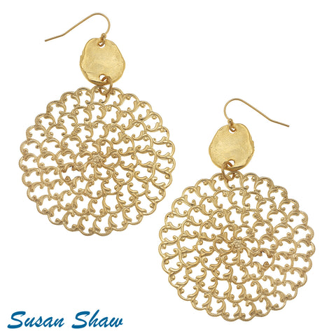 Handcast Gold And Filigree Earrings