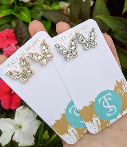 Ornate Crystal Butterfly Studs