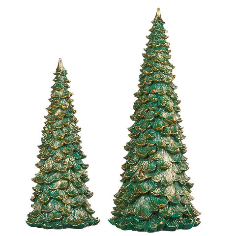 "Green Resin 12"" Tree With Gold Edges"