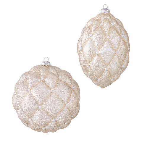 "6.25"" Quilted Ornament With Pearls"