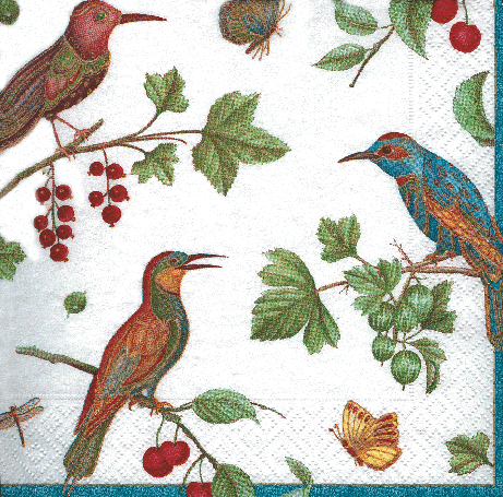 Jeweled Birds Ivory Cocktail Napkins