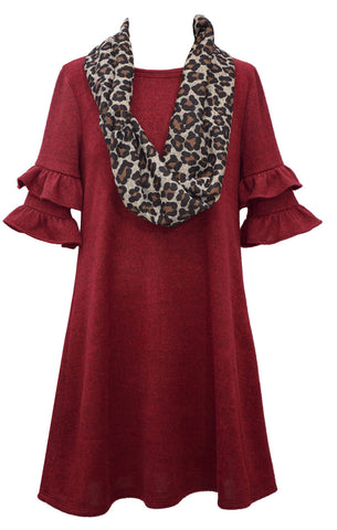 Burgundy 3/4 Double Ruffle Sleeve Knit Dress