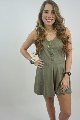 OF Suede Button Up Romper