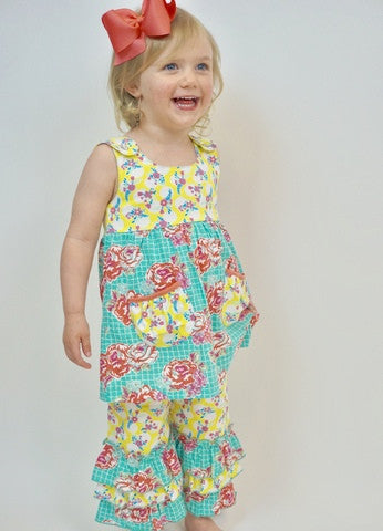 Flit/Flitter 2pc Pant Set Yellow/Turquoise/Coral