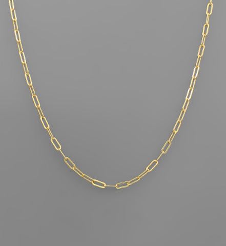 7mm Brass Paperclip Chain Necklace