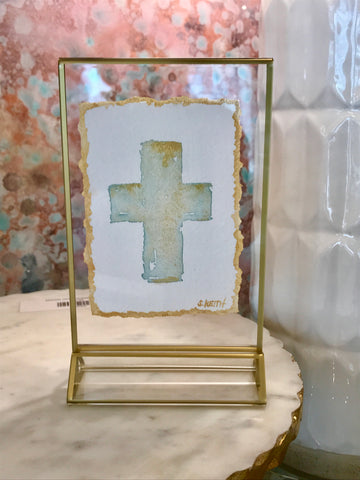 Gold Framed Hand Painted Cross