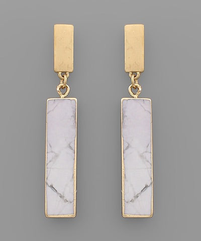 Rectangle White Stone Earrings