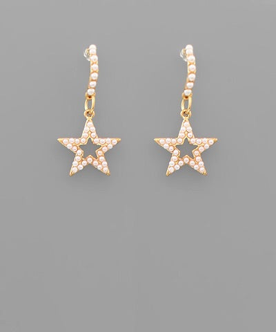 Gold Pearl Star Earrings