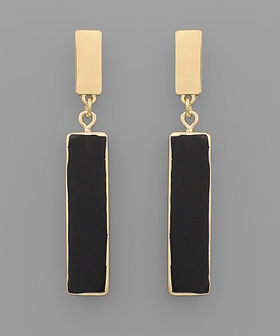 Rectangle Black Stone Earrings