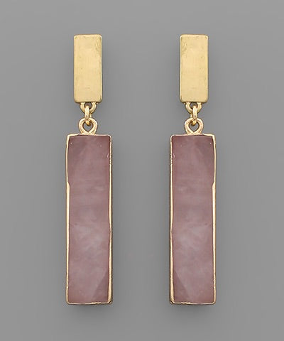 Rectangle Peach Stone Earrings