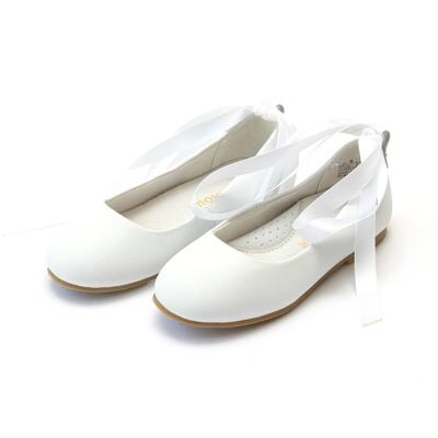 Girls White Lace Up Flat