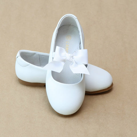 Girls White Bow Flat